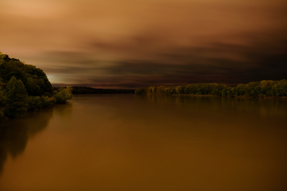 The Missouri River is seen in a long exposure. Taken as part of the 71st Missouri Photo Workshop in Boonville, Mo.