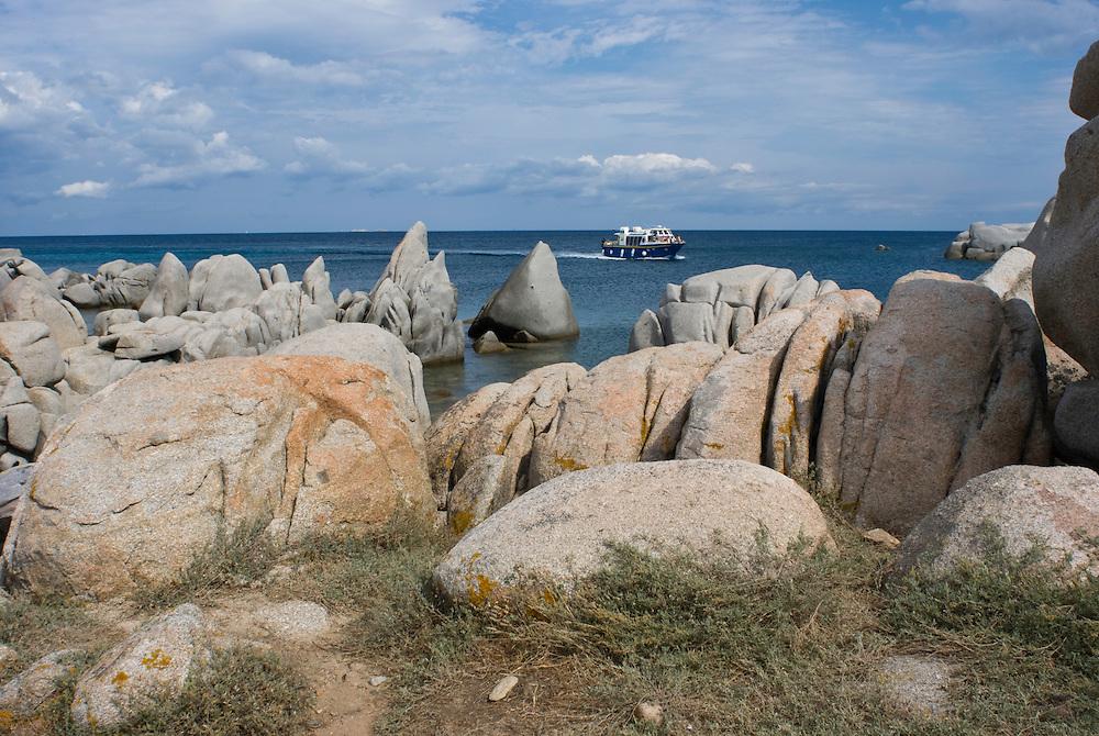 Granite rocks, coastline<br /> France: Corsica, Lavezzi Islands,