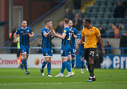 Callum Camps of Rochdale (C) celebrates after scoring his sides first goal - Mandatory by-line: Jack Phillips/JMP - 02/11/2019 - FOOTBALL - Crown Oil Arena - Rochdale, England - Rochdale v Bristol Rovers - English Football League One