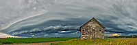 An ominous looking shelf cloud approaches an old abandoned house near McLean, Illinois.<br /> <br /> Date Taken: June 21, 2014