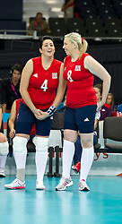 © Licensed to London News Pictures. 31/08/2012, The Paralympics women's sitting volleyball competition got under way this morning at the Excel Centre in London.   The team were beaten by the Ukrainian team who are currently ranked third in the world. Members of the team include Vice-captain Martine Wright who survived the 7/7 terrorist attacks in London and Sam Bowen an Iraqi war veteran (pictured left).  Photo credit : Alison Baskerville/LNP