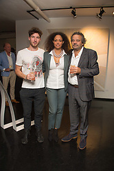 Left to right, JOE KENNEDY director of The Unit London, REBECCA LIDERT Director of CNB Gallery and MARK HIX at the Hix Award 2016 held at Unit London, 147 Wardour Street, Soho, London on 5th September 2016.