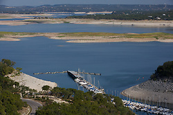 Lake Travis marina during Texas drought conditions.