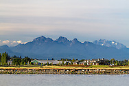 Mount Blanshard (The Golden Ears) and Mount Robbie Reid from the banks of the Nicomeckl River. Photographed from Elgin Heritage Park in Surrey, British Columbia, Canada