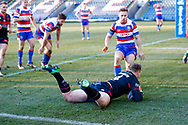 Halifax RLFC second row Edward Barber (4) scores Halifax RLFC  final try of the game during the Betfred Championship match between Rochdale Hornets and Halifax RLFC at Spotland, Rochdale, England on 25 February 2018. Picture by Simon Davies.