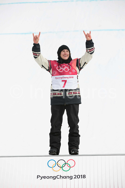 Sebastien Toutant, Canda, GOLD, at the mens snowboard big air flower ceremony at the Pyeongchang 2018 Winter Olympics on 24th February 2018, at the Alpensia Ski Jumping Centre in Pyeongchang-gun, South Korea