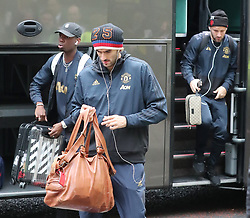 The Manchester United team are spotted on their way to catch a flight as the team fly to Turin on Tuesday afternoon to play Juventus in The Champions League on Wednesday night.