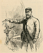 Samuel Watson, driver of the 'Flying Scotsman', the locomitive of the express railway train between King's Cross station, London and Edinburgh.  Engraving, 1892.