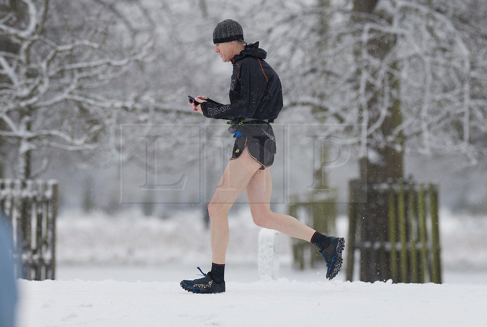 © Licensed to London News Pictures. 24/01/2021. London, UK. A jogger in shorts checks his phone as he runs through a  snowy Bushy Park in south west London. A band of snow is crossing the south east this morning as temperature remain just above freezing. Photo credit: Peter Macdiarmid/LNP