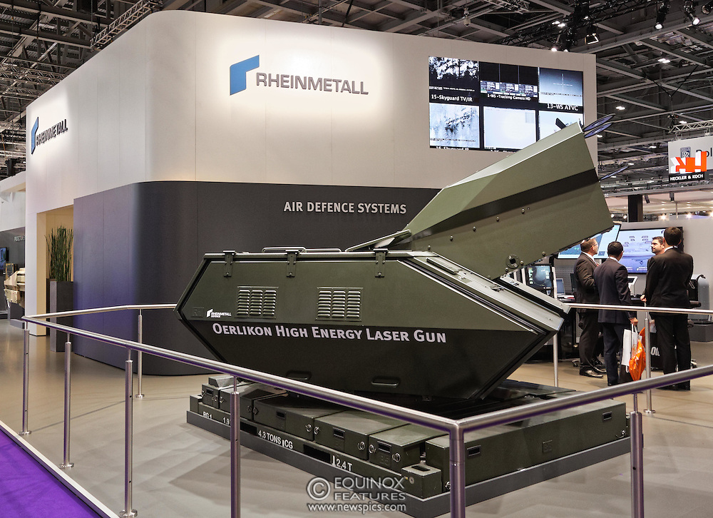 London, United Kingdom - 18 September 2015<br /> Rheinmetall air defence systems Oerlikon High Energy Laser Gun on display at the defence and security exhibition DSEI at ExCeL, Woolwich, London, England, UK.<br /> (photo by: EQUINOXFEATURES.COM)<br /> <br /> Picture Data:<br /> Photographer: Equinox Features<br /> Copyright: ©2015 Equinox Licensing Ltd. +448700 780000<br /> Contact: Equinox Features<br /> Date Taken: 20150918<br /> Time Taken: 13445383<br /> www.newspics.com