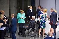 DEU, Deutschland, Germany, Berlin, 24.07.2019: Bundeskanzlerin Dr. Angela Merkel (CDU) und Bundestagspräsident Wolfgang Schäuble (CDU) bei der Sondersitzung des Bundestags im Paul-Löbe-Haus anlässlich der Vereidigung der Bundesverteidigungsministerin.