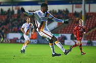 Bradford City forward, on loan from Huddersfield Town, Jordy Hiwula (11) shot is saved but he puts the rebound in to score and make the score 1-1 during the EFL Sky Bet League 1 match between Walsall and Bradford City at the Banks's Stadium, Walsall, England on 17 December 2016. Photo by Simon Davies.