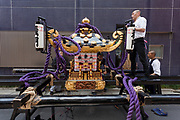 A large mikoshii or portable shrine is prepared on the first day of the three-day Sanja Matsuri, Asakusa, Tokyo, Japan. Friday May 18th 2018. The Sanja matsuri, or festival, takes place over the third weekend of May in the streets around the famous Senso-ji Temple. It lis one of the biggest festivals in Japan and lasts for three days  (May 18th to 20th) with parades of large mikoshi carried around the streets by crowds of supporters