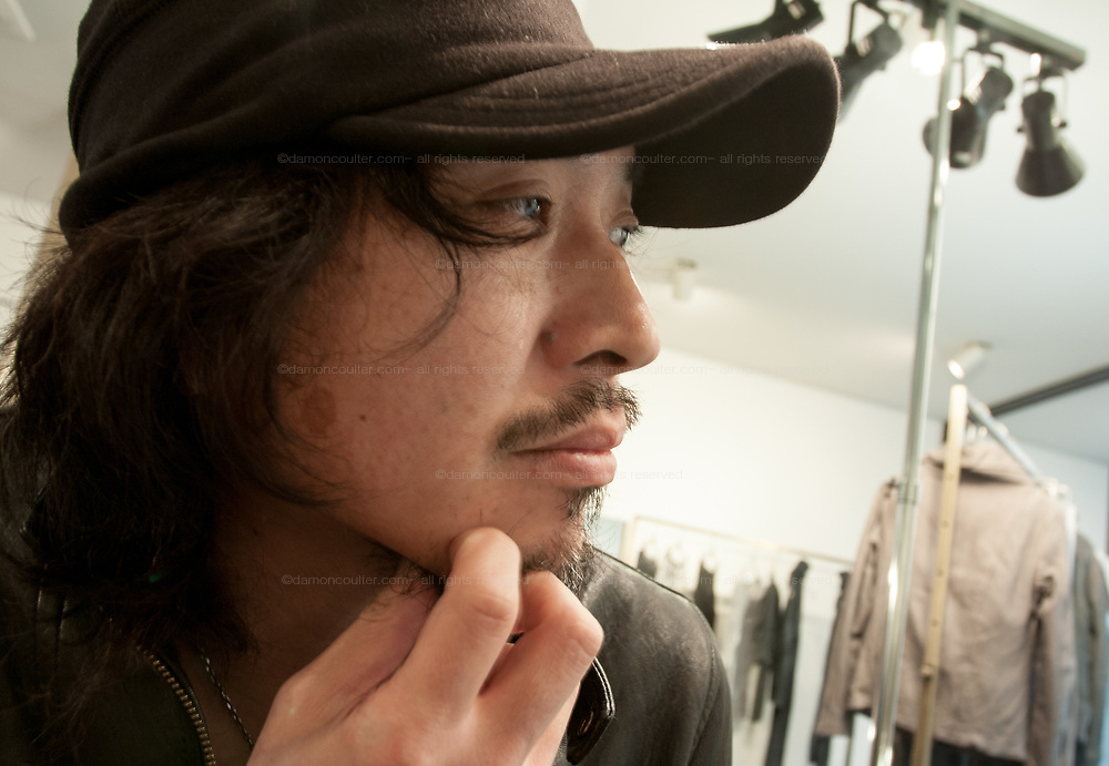 """Portrait of Shoji Takenaga, fashion designer for Shama, Jewella and """"do less"""" brands at a private showing of his lastest works in Shibuya, Tokyo, Japan. February 12th 2010"""
