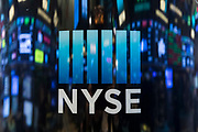 NYSE Logo reflection on trading floor New York Stock Exchange Ternium annual investor meeting at the New York Stock Exchange in New York City (Photo By Ben Hider)