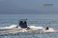 Power boat pulling tuber on Flathead Lake from Wayfarers State Park in Bigfork, Montana, USA