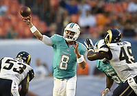 28 August 2014: Miami Dolphins quarterback Matt Moore (8) passes against the St. Louis Rams in Miami s 14-13 victory at Sun Life Stadium, Miami, Florida. NFL American Football Herren USA AUG 28 Preseason - Rams at Dolphins PUBLICATIONxINxGERxSUIxAUTxHUNxRUSxSWExNORxONLY Icon211140828041<br /> <br /> 28 August 2014 Miami Dolphins Quarterback Matt Moore 8 Pass Against The St Louis Rams in Miami s 14 13 Victory AT Sun Life Stage Miami Florida NFL American Football men USA Aug 28 Preseason Rams AT Dolphins PUBLICATIONxINxGERxSUIxAUTxHUNxRUSxSWExNORxONLY