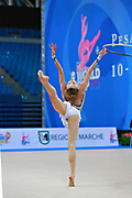 Kerber Jasmine during qualifying at hoop in Pesaro World Cup at Adriatic Arena on 10 April 2015. Jasmine is a American individual rhythmic gymnast  born on December 4, 1996 in Chicago, Illinois, United States.
