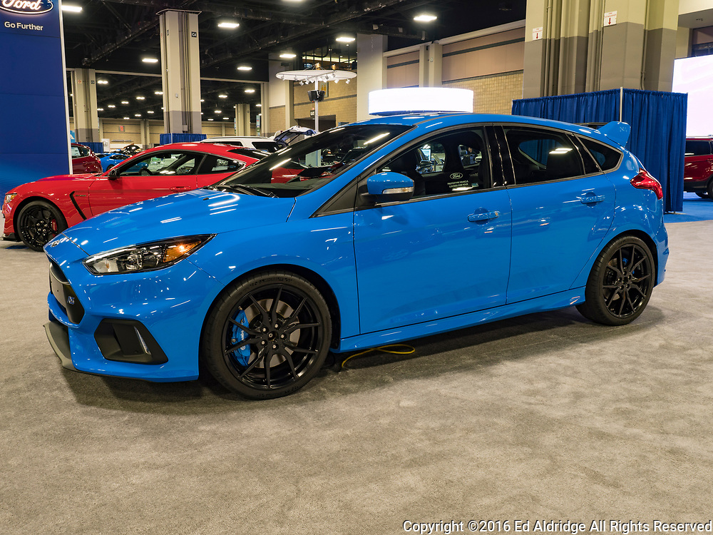 CHARLOTTE, NC, USA - NOVEMBER 17, 2016:  Ford Focus RS on display during the 2016 Charlotte International Auto Show at the Charlotte Convention Center in downtown Charlotte.