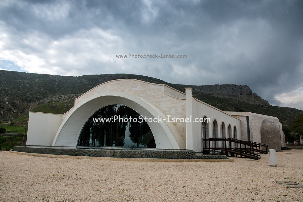The Magdala Spirituality center [that houses a replica of Jesus' boat], Magdala (Mejdel) - current day Migdal. On the Sea of Galilee, Israel  It is believed to be the birthplace of Mary Magdalene.