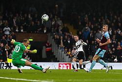Andre Schurrle of Fulham has a shot saved by Joe Hart of Burnley - Mandatory by-line: Robbie Stephenson/JMP - 26/08/2018 - FOOTBALL - Craven Cottage - Fulham, England - Fulham v Burnley - Premier League