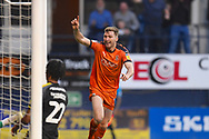 Luton Town player Jack Stacey celebrates the first goal of the first half during the EFL Sky Bet League 1 match between Luton Town and AFC Wimbledon at Kenilworth Road, Luton, England on 23 April 2019.