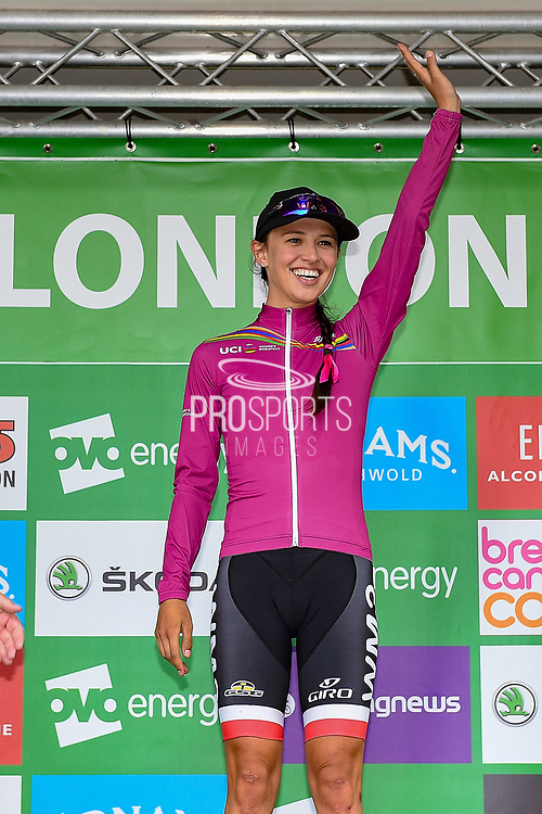 Katarzyna Niewiadoma (POL) riding for WM3 Pro Cycling wearing her overall World Tour Leader jersey during the OVO Energy Women's Tour, London Stage, at Regent Street, London, United Kingdom on 11 June 2017. Photo by Martin Cole.