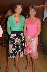 Left to right, MRS CATHERINE SOAMES and MRS SIMON SLATER they were friends of the late Diana, Princess of Wales at the annual Laurent Perrier Pink Party held at The Sanderson Hotel, Berners Street, London on 27th April 2005.<br />