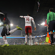 Thierry Henry, New York Red Bulls, prepares to take a corner during the New York Red Bulls V DC United, MLS Cup Playoffs, Eastern Conference Semifinals first leg at Red Bull Arena, Harrison, New Jersey. USA. 2nd November 2014. Photo Tim Clayton