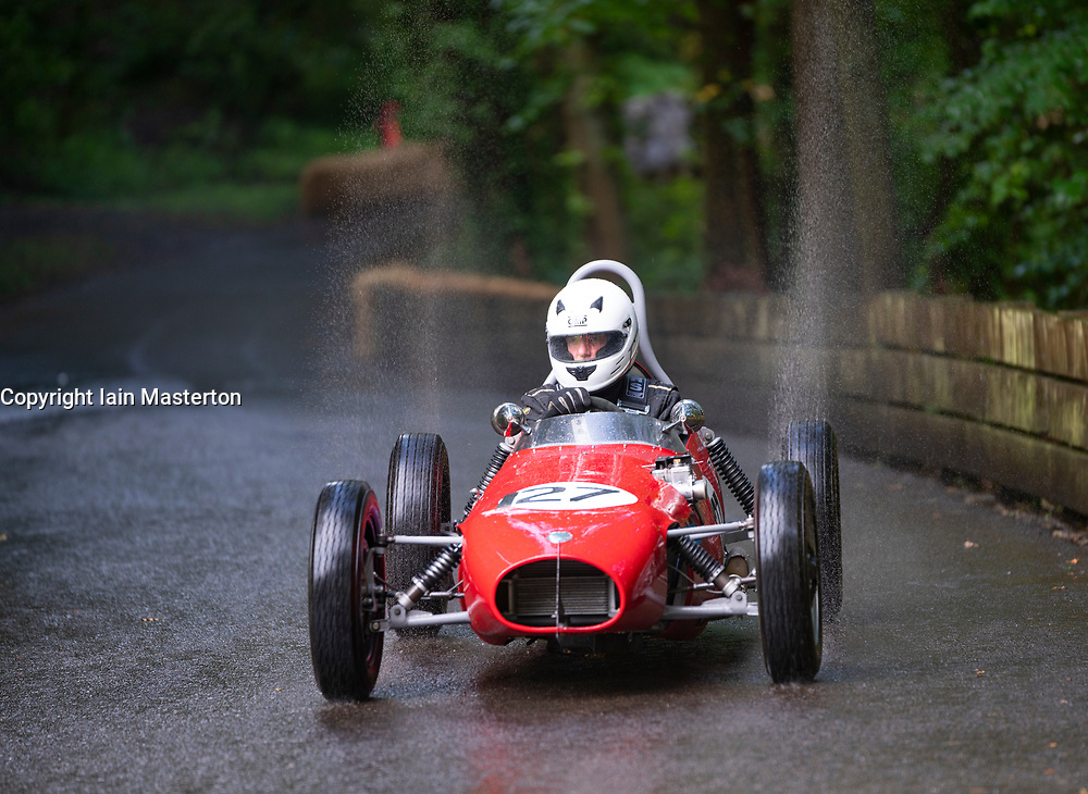 Boness Revival hillclimb motorsport event in Boness, Scotland, UK. The 2019 Bo'ness Revival Classic and Hillclimb, Scotland's first purpose-built motorsport venue, it marked 60 years since double Formula 1 World Champion Jim Clark competed here.  It took place Saturday 31 August and Sunday 1 September 2019. 127 Bernard Brook. Elva FJ