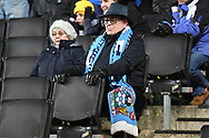 Coventry fans in their colours during the EFL Trophy match between Milton Keynes Dons and Coventry City at Stadium:MK, Milton Keynes, England on 3 December 2019.