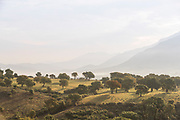 View of mountains from valley under cloudy sky, Sartene, Corsica, France