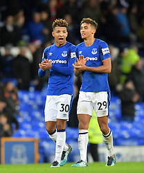 """Everton's Mason Holgate (left) and team-mate Dominic Calvert-Lewin after the Premier League match at Goodison Park, Liverpool. PRESS ASSOCIATION Photo Picture date: Saturday December 2, 2017. See PA story SOCCER Everton. Photo credit should read: Dave Howarth/PA Wire. RESTRICTIONS: EDITORIAL USE ONLY No use with unauthorised audio, video, data, fixture lists, club/league logos or """"live"""" services. Online in-match use limited to 75 images, no video emulation. No use in betting, games or single club/league/player publications."""