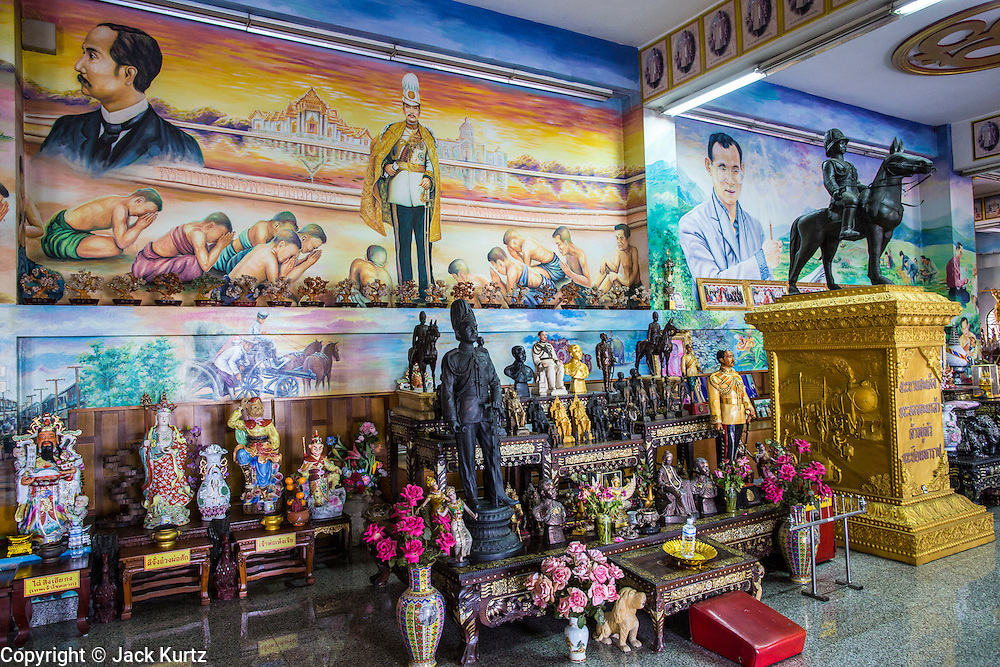 30 SEPTEMBER 2012 - BANGKOK, THAILAND: A prayer hall dedicated to the Thai Kings of the Chakri dynasty at the Shiva Temple in the Raminthra neighborhood of Bangkok, Thailand. The temple is popular with Bangkok's Indian community.      PHOTO BY JACK KURTZ