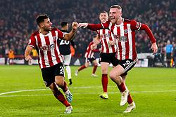 Oliver McBurnie of Sheffield United celebrates scoring a goal to make it 3-3 - Mandatory by-line: Robbie Stephenson/JMP - 24/11/2019 - FOOTBALL - Bramall Lane - Sheffield, England - Sheffield United v Manchester United - Premier League