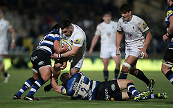 Worcester's Simon Kerrod is tackled by Bath's Paul Grant and Tom Dunn during the Aviva Premiership match at Sixways Stadium, Worcester.