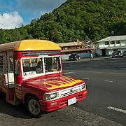 Colorful little buses shuttle people around the island, Pago Pago, Tutuila Island, American Samoa.