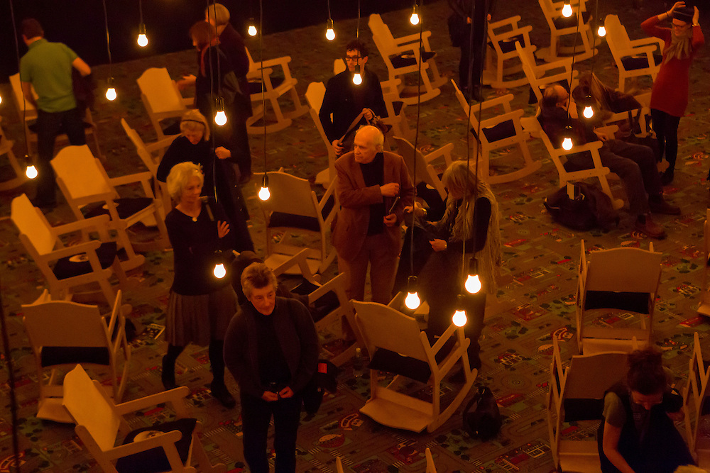 "The audience leaving at the end of Samuel Beckett's ""All That Fall""."