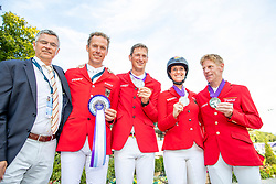 BECKER Otto (Bundestrainer Springen), AHLMANN Christian (GER), DEUSSER Daniel (GER), BLUM Simone (GER), EHNING Marcus (GER)<br /> Rotterdam - Europameisterschaft Dressur, Springen und Para-Dressur 2019<br /> Impressionen am Rande<br /> Longines FEI Jumping European Championship part 2 - team 2nd and final round<br /> Finale Teamwertung 2. Runde<br /> 23. August 2019<br /> © www.sportfotos-lafrentz.de/Stefan Lafrentz