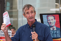 Greg Hadfield, who advised that he had been suspended three times by the Labour Party, addresses supporters of left-wing Labour Party groups at a protest lobby outside the party's headquarters on 20th July 2021 in London, United Kingdom. The lobby was organised to coincide with a Labour Party National Executive Committee meeting during which it was asked to proscribe four organisations, Resist, Labour Against the Witchhunt, Labour In Exile and Socialist Appeal, members of which could then be automatically expelled from the Labour Party.