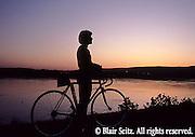 Bicycling, Pennsylvania, Outdoor recreation, Biking in PA, Single Biker, Sunset, Susquehanna River