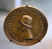 Self portrait of Lysippus the Younger. Circa 1475-1480 AD. Portrait in profile as relief on a round medal/coin shape. From Rome, Italy. Bearing Latin inscription.