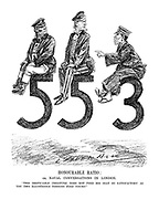"Honourable Ratio; or, Naval Conversations in London. ""This despicable creature does not find his seat so satisfactory as you two illustrious persons find yours!"" (Japan complains while sitting on her naval ratio number 3 as Britain and USA sit on their number 5 ratios)"