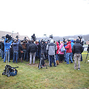 The Media scramble for position during a press conference in the town after the mass shootings at Sandy Hook Elementary School, Newtown, Connecticut, USA. 16th December 2012. Photo Tim Clayton