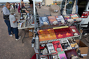 "Books and souvenirs for sale at Site Trinity, ground zero, on the White Sands Missile Range in S. New Mexico. Site of the world's first atomic explosiion on August 6, 1945. The atomic bomb was developed by the Manhatten Project. The Manhattan Project refers to the effort during World War II by the United States, in collaboration with the United Kingdom, Canada, and other European physicists, to develop the first nuclear weapons. Formally designated as the Manhattan Engineering District (MED), it refers specifically to the period of the project from 1942-1946 under the control of the U.S. Army Corps of Engineers, under the administration of General Leslie R. Groves, with its scientific research directed by the American physicist J. Robert Oppenheimer. The project succeeded in developing and detonating three nuclear weapons in 1945: a test detonation on July 16 (the Trinity test) near Alamogordo, New Mexico; an enriched uranium bomb code-named ""Little Boy"" detonated on August 6 over Hiroshima, Japan; and a plutonium bomb code-named ""Fat Man"" on August 9 over Nagasaki, Japan. (http://en.wikipedia.org/wiki/Manhattan_Project)"