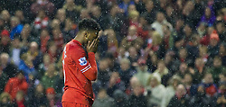 28.01.2014, Anfield, Liverpool, ENG, Premier League, FC Liverpool vs FC Everton, 23. Runde, im Bild Liverpool's Daniel Sturridge looks dejected after missing, penalty action against Everton // during the English Premier League 23th round match between Liverpool FC and Everton FC at Anfield in Liverpool, Great Britain on 2014/01/29. EXPA Pictures © 2014, PhotoCredit: EXPA/ Propagandaphoto/ David Rawcliffe<br /> <br /> *****ATTENTION - OUT of ENG, GBR*****