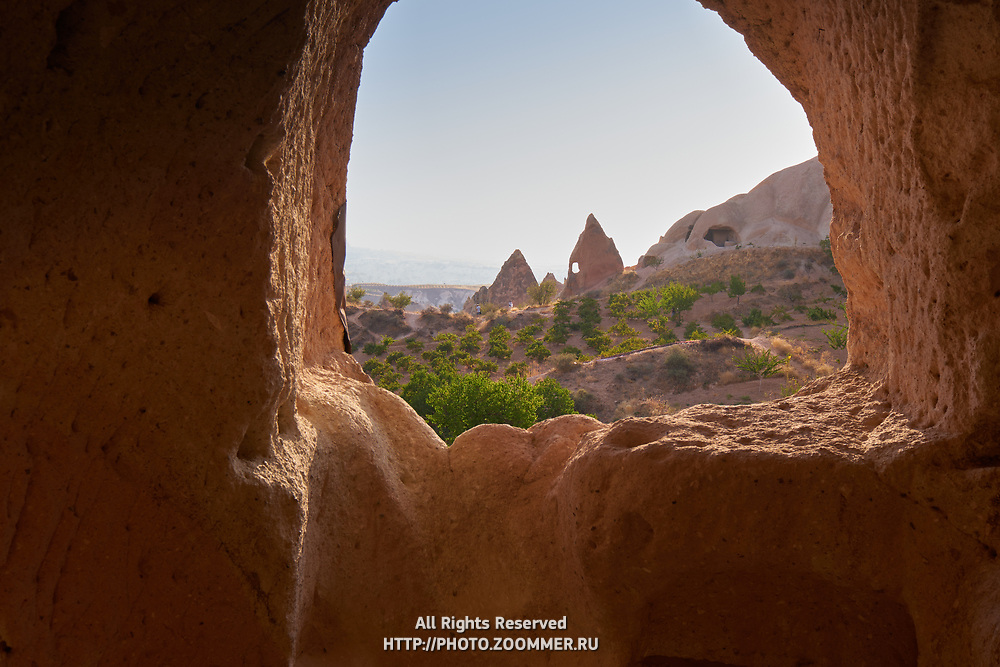 View from the cave house to the Red Valley in Cappadocia