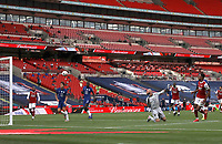 Football - 2020 Emirates 'Heads Up' FA Cup Final - Arsenal vs. Chelsea <br /> <br /> Pierre-Emerick Aubameyang (A), scores the second, and winning, Arsenal goal (2-1), at Wembley Stadium.<br /> <br /> The match is being played behind closed doors because of the current COVID-19 Coronavirus pandemic, and government social distancing/lockdown restrictions.
