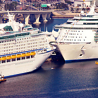 Aerial view of Port of Miami with cruise ships docked