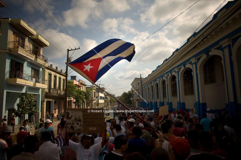 May Day celebration in Havana, Cuba. May. 1, 2008. Photographer: Robert Caplin/Rapport Press